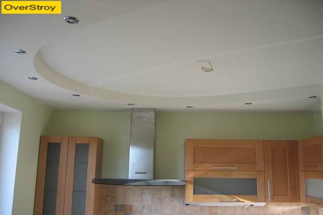 Потолок из гипсокартона на кухне фото своими руками